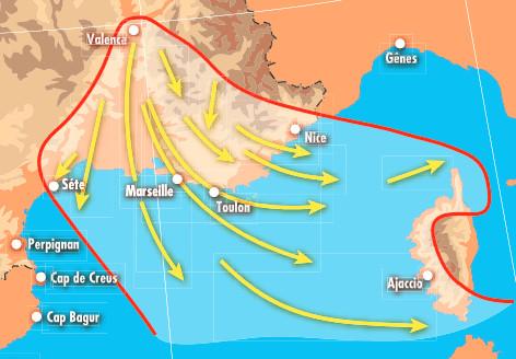 Les vents régionaux méditerranéens   Tempêtes en France métropolitaine